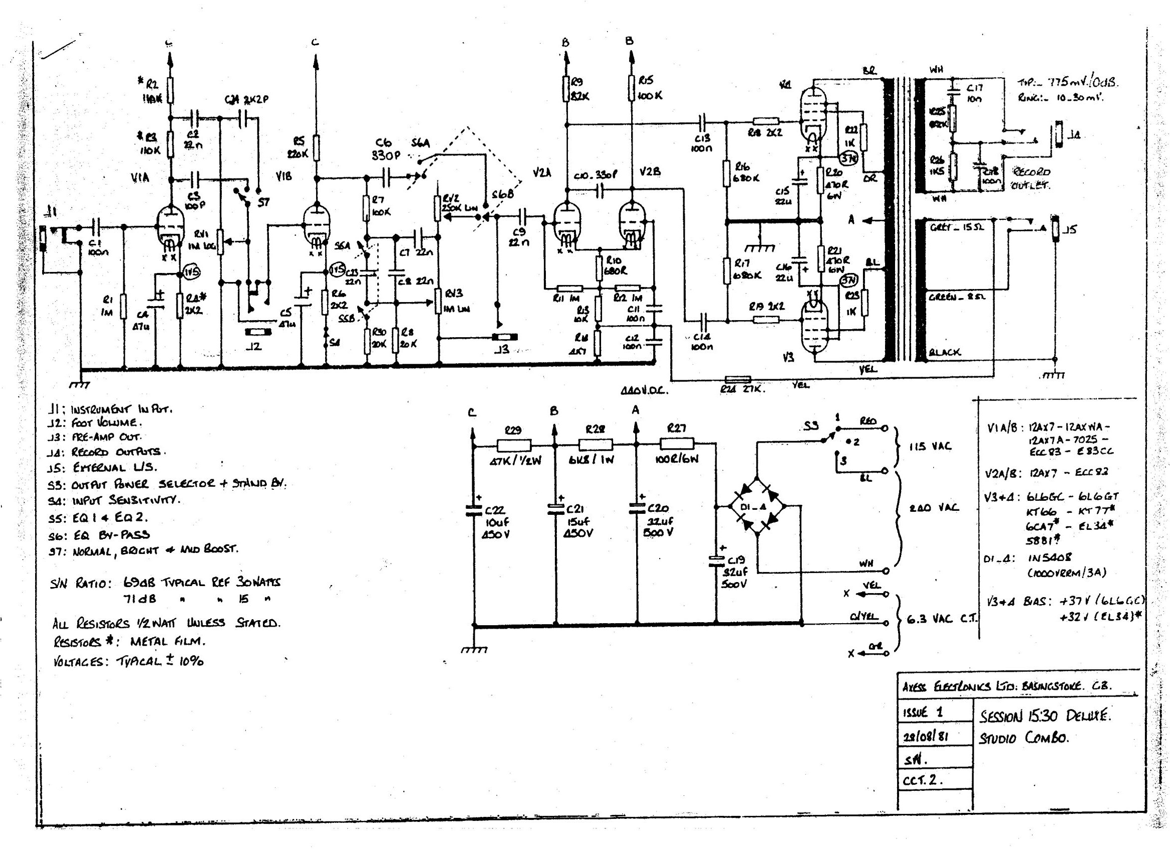 ... Session 15:30 Valve 'Studio Combo' Schematic (1979-1983)